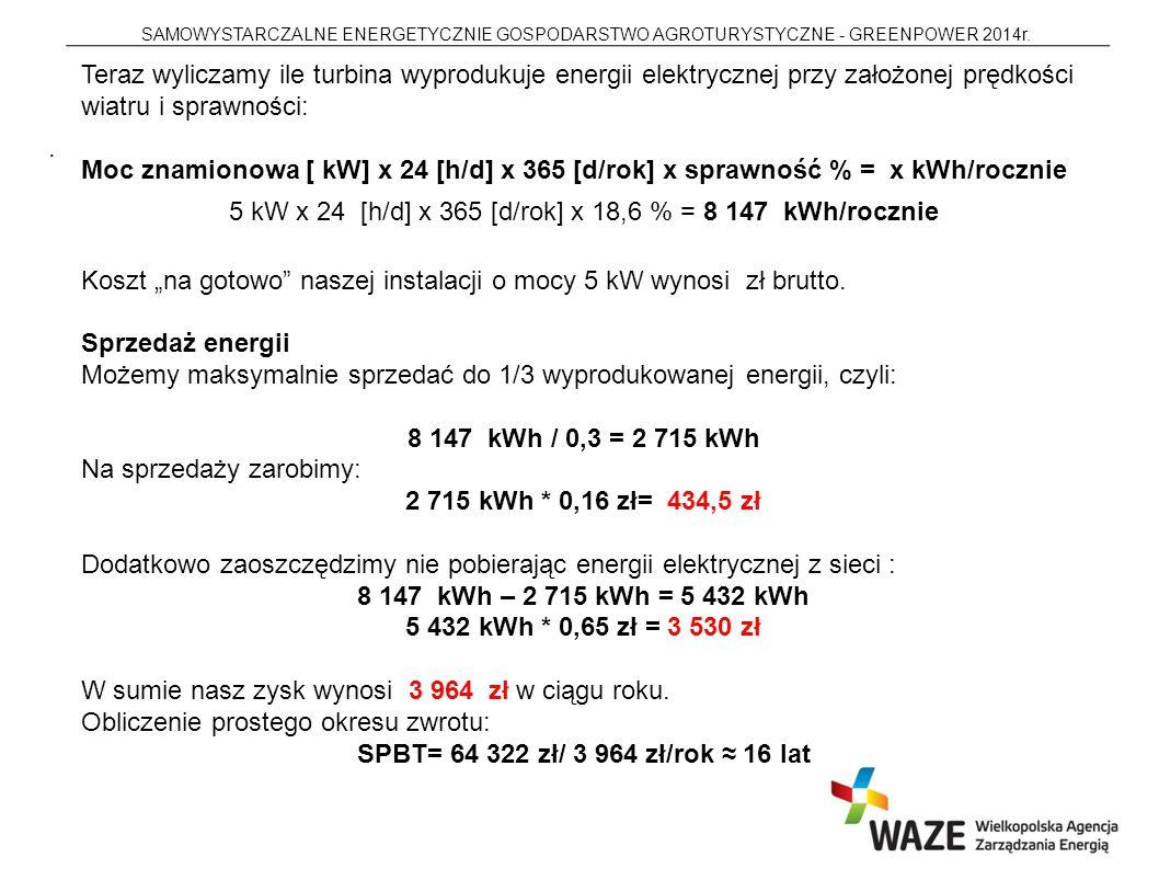 5 kW x 24 [h/d] x 365 [d/rok] x 18,6 % = 8 147 kWh/rocznie